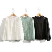 秋冬7折[H2O]氣質蕾絲拼接八分袖雪紡上衣 - 黑/白/淺綠色 #0635005