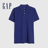 Gap男裝 商務舒適棉質透氣POLO衫 736520-深藍色