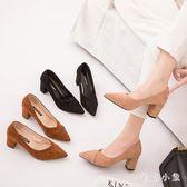 秋季女士粗跟高跟鞋2018新款百搭晚晚鞋時尚仙女淺口尖頭職業單鞋 ys8601『毛菇小象』