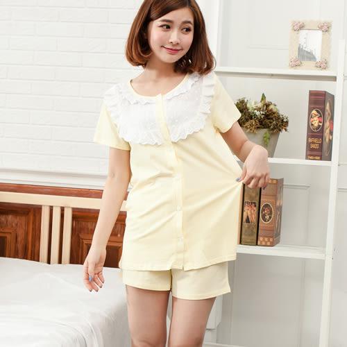 睡衣透氣蕾絲圓領棉質前釦式成套休閒服 -黃-波曼妮亞