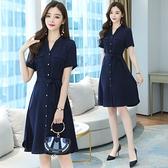 短袖洋裝輕熟風氣質OL職業連身裙女新款夏季中長款收腰顯瘦正裝襯衫裙子T105快時尚