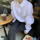 泡泡袖上衣 小眾設計感泡泡袖白襯衫女新款2021年港風溫柔宮廷風心機別致上衣寶貝計畫 上新