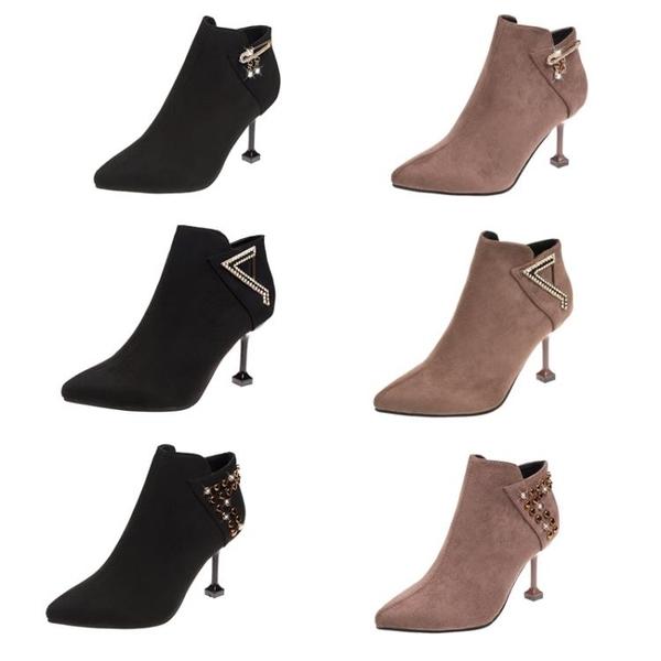 尖頭短靴女秋冬季新款百搭裸靴時尚加絨高跟鞋女士細跟貓跟鞋