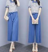 促銷價不退換中大尺碼XL-5XL上衣休閒褲套裝33468夏季女裝胖妹妹時尚翻領襯衫 闊腿褲兩件套