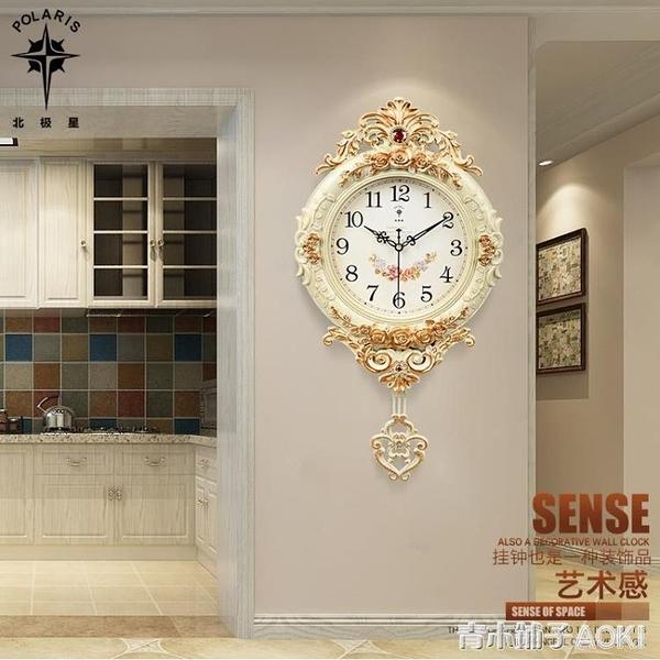 北極星歐式鐘表創意掛鐘搖擺時尚掛牆掛表靜音客廳時鐘石英鐘家用「青木鋪子」