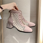 馬丁靴女英倫風新款春季女鞋百搭薄款短靴女夏季透氣粗跟靴子 【快速出貨】