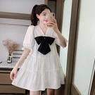 法式洋裝2021年夏季新款減齡V領蝴蝶結寬鬆顯瘦娃娃裙短袖裙子 黛尼時尚精品
