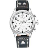 【BENTLEY】賓利 AVIATOR系列 遨翔菁英計時手錶 (白面/黑 BL1684-30WWB)