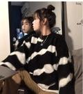 滿千免運~毛衣外套~毛茸茸斑馬毛衣 女設計感針織毛衣大板型加厚2999.KK088C日韓屋