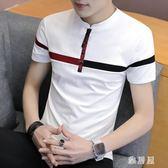 POLO衫男士短袖T恤夏裝翻領純色男裝夏天半袖t桖有領帶領上衣服潮zzy1769【雅居屋】
