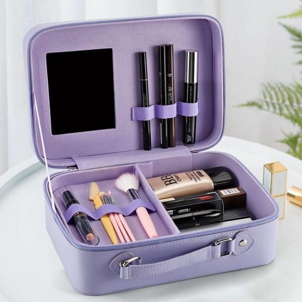 化妝箱跟妝化妝包立體大容量韓版網紅化妝箱便攜旅行手提簡約帶鏡化妝盒 迷你屋