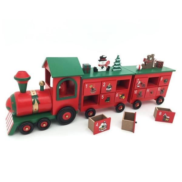 聖誕節裝飾品Christmas聖誕節火車advent倒計時日歷抽屜calendar裝飾禮品 免運 零度
