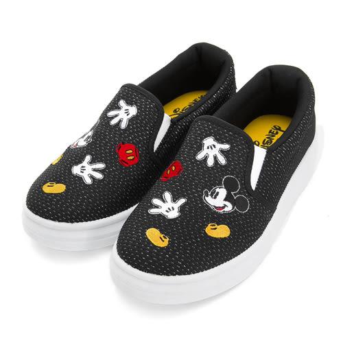 Disney 淘氣米奇 造型電繡銀蔥懶人鞋-黑