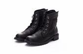 MICHELLE PARK 超質感中性簡約羊皮綁帶拉鍊帥氣軍靴-黑