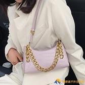 夏百搭小眾包包女潮單肩法棍復古時尚2020高級感紫色女包【勇敢者戶外】