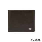 FOSSIL RYAN 菱形金屬LOGO款含零錢匣RFID男夾-灰色 ML4121257