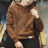 新款男士冬季連帽T恤套頭連帽衫學生韓版寬鬆潮流男裝加絨秋冬款 Korea時尚記