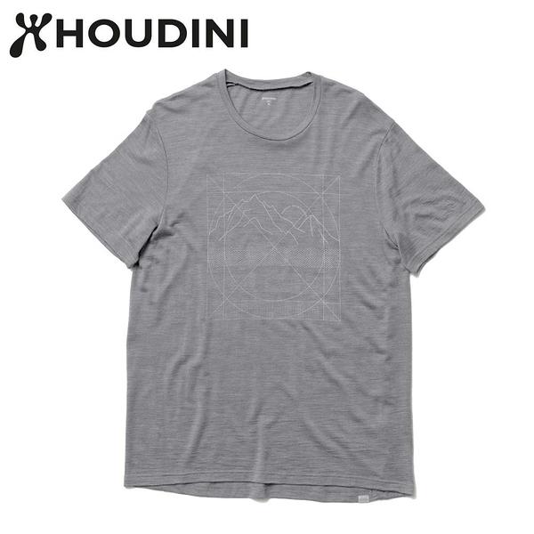 瑞典【Houdini】M`s Activist Tee Message 男 羊毛混紡天絲短袖 柔軟灰