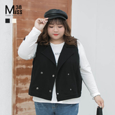 Miss38-(現貨)【A10530】大尺碼背心 個性短版翻領 韓版防風 雙排釦 斜插口袋 西裝馬甲 -中大尺碼