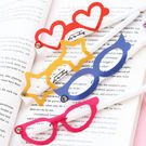 【BlueCat】創意星星愛心眼鏡造型白筆桿中性筆