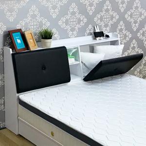 【KIKY】吉岡皮質附插座雙人5尺二件床組(床頭箱+六分厚床底)胡桃