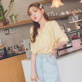 MUMU【T36959】奶油黃V領鈕扣氣質短袖上衣