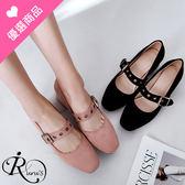 韓系雜誌款絨面皮帶扣環方高跟包鞋/2色/35-43碼 (RX0629-4-6) iRurus 路絲時尚