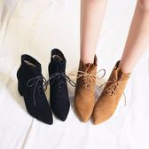 正韓繫帶短靴女粗跟高跟尖頭馬丁靴高跟靴女靴子新款【好康回饋◇85折】