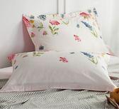 枕頭套  棉質枕套棉質枕頭套一對裝48*74單人 田園花卉款全館滿千88折