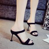 高跟拖鞋女夏新品性感細跟涼鞋時尚外穿室外半拖正韓百搭涼拖