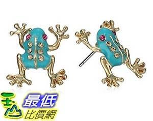 [美國直購] Betsey Johnson Teal and Gold Frog Stud Earrings 耳環