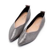 2.Maa 顯瘦魅力水鑽平底尖頭鞋 - 銀