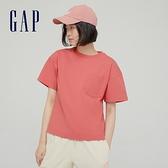 Gap女裝 休閒單口袋質感厚磅短袖T恤 629545-粉色