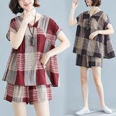 棉麻 V領格子印花寬鬆版套裝(上衣+短褲)-中大尺碼 獨具衣格