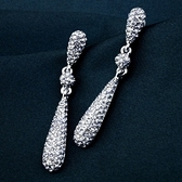 耳環 925純銀鑲鑽-奢華水滴生日情人節禮物女耳針73gt193【時尚巴黎】