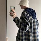秋季格子連帽襯衫男生韓版潮流長袖襯衣情侶寸衫潮牌休閑寬松外套
