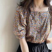 雪紡衫女復古一字領碎花時尚遮肚上衣夏季短袖襯衫