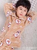 睡衣兒童法蘭絨睡衣秋冬男童女童孩加厚珊瑚絨寶寶家居服親子套裝 嬡孕哺