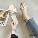 涼拖鞋女夏外穿韓版平底一字拖鞋度假露趾涼鞋【毒家貨源】