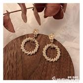 韓版氣質珍珠圓圈耳環女長款耳飾品2020新款潮高級感法式網紅耳釘 新年禮物