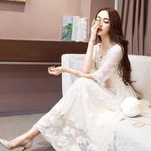 歐美名媛氣質顯瘦蕾絲洋裝修身中長款打底鏤空仙女禮服裙子  朵拉朵衣櫥