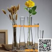 玻璃透明小花瓶 桌面花插小口細長玫瑰花瓶客廳迷你擺件【happybee】