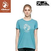 【Wildland 荒野 女 彈性LOGO印花圓領上衣《牛仔藍》】0A81603/短袖/圓領T/運動衣/休閒衫