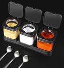 調味料盒 調料盒套裝玻璃鹽罐廚房家用一體多格味精調味料瓶罐子組合裝【快速出貨八折搶購】