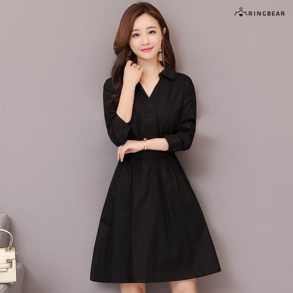 洋裝--專業素面彈性腰線寬鬆百搭Y型襯衫領長袖連衣裙(黑.咖M-3L)-A354眼圈熊中大尺碼◎