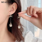 氣質純銀貓眼石耳環年新款潮韓國耳飾長款無耳洞耳墜耳釘耳夾 瑪麗蘇