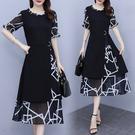 洋裝 連身裙L-5XL假兩件套拼接雪紡高端連身裙裙子洋氣時尚夏R031-A.6322 1號公館