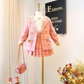 女童西裝 2019女童春秋季新款套裝 兒童格子學院西裝外套 公主百褶裙兩件套 小天後