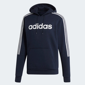 ADIDAS  M HD SWEAT  深藍 白三線 英文logo 刷毛帽T 男 (布魯克林) EI8985