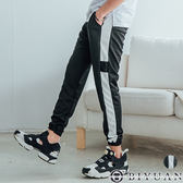 側邊條紋束口休閒褲【FYB1802】OBIYUAN 口袋布標JOGGER運動褲 共1色